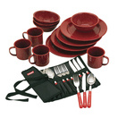 24pc enamelware dish set and flatware