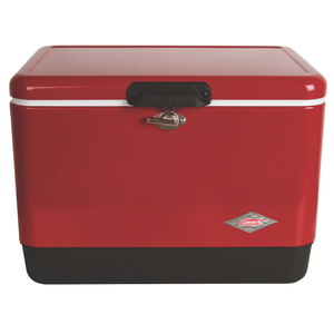 54 quart steel belted cooler red