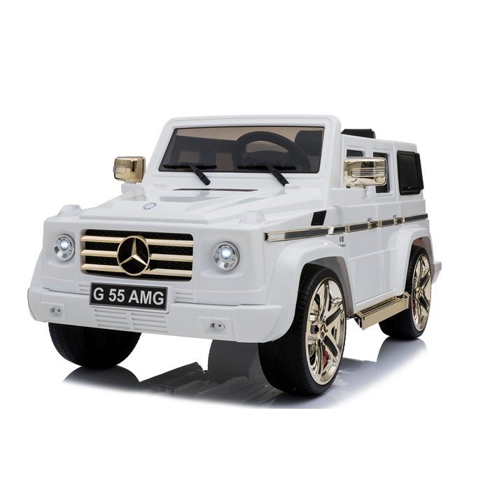 c8095f6d4d1 kool karz mercedes benz g55 amg electric special edition ride on toy car  white and gold ...